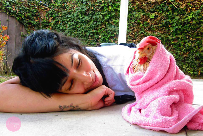 Vida Jafari and chiken. By Brenda V Calvillo